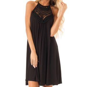 NWT ONYX BLACK SHORT DRESS LACE FRONT KEYHOLE BACK